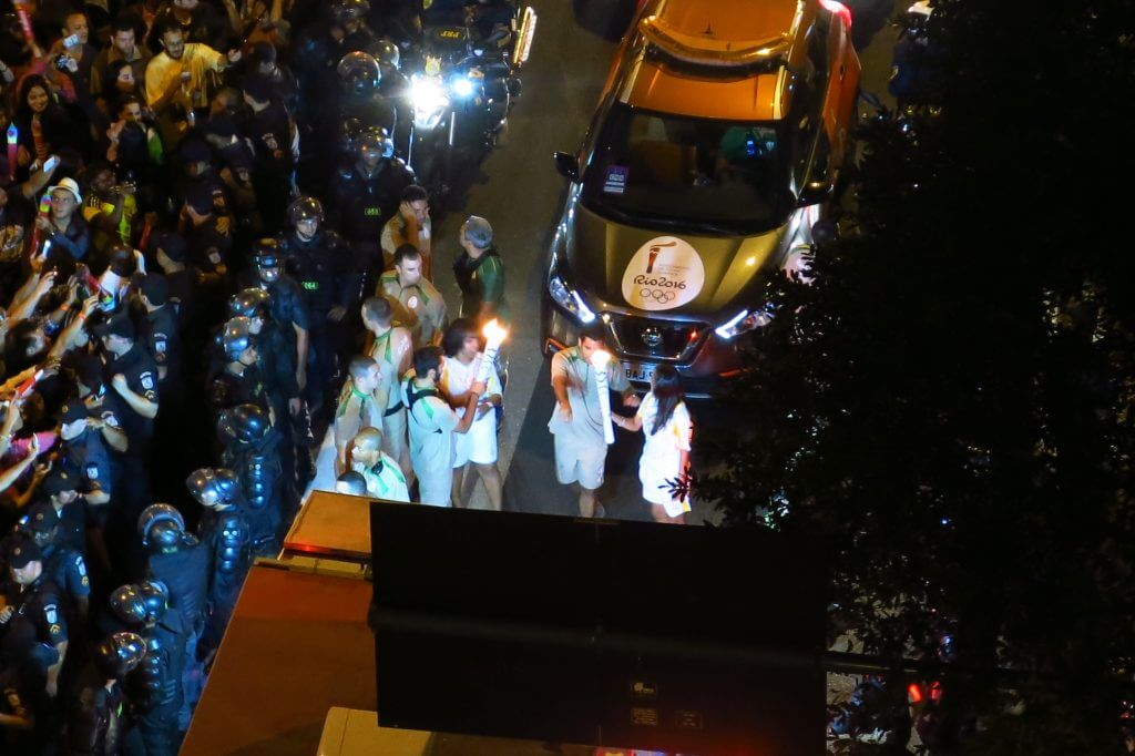 Torch relay for 2016 Rio Olympics at night