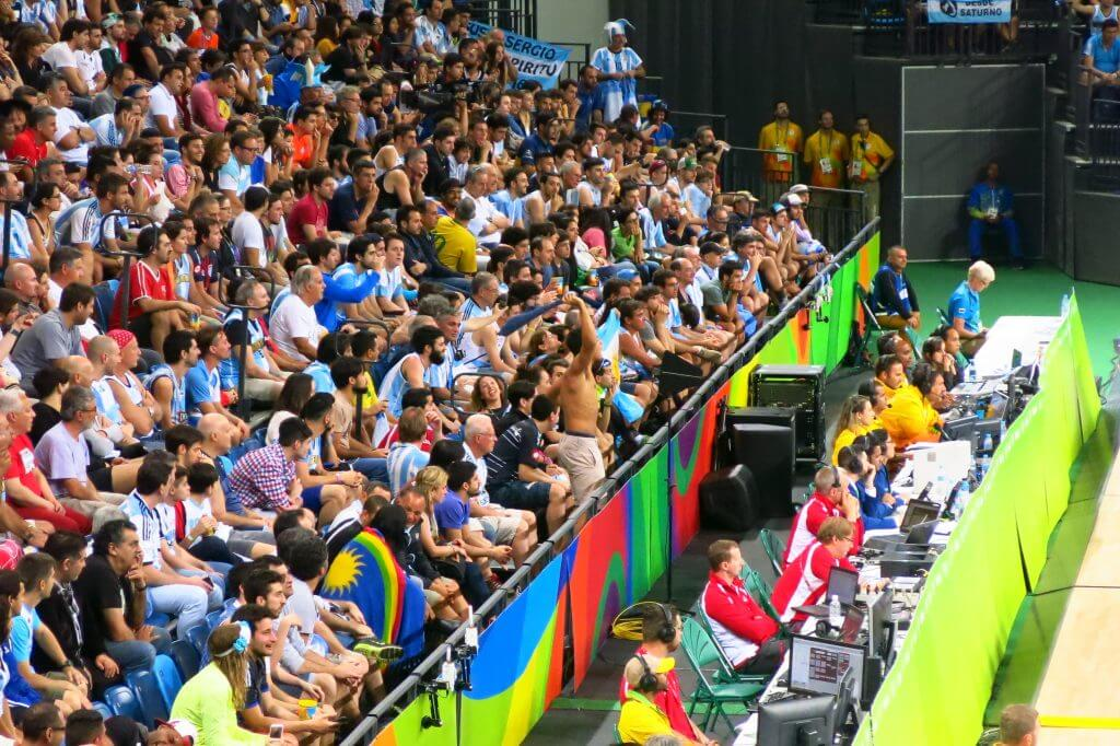 Passionate Argentines at the basketball game, 2016 Rio Olympics