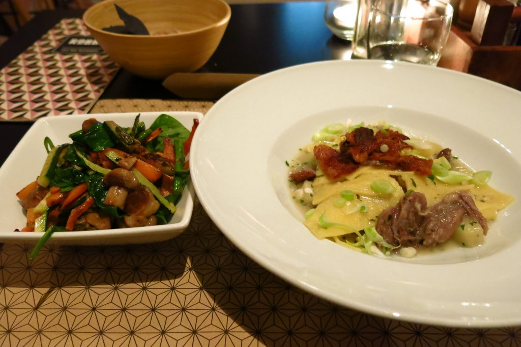 Krpice pasta with duck and a side of sauteed vegetables