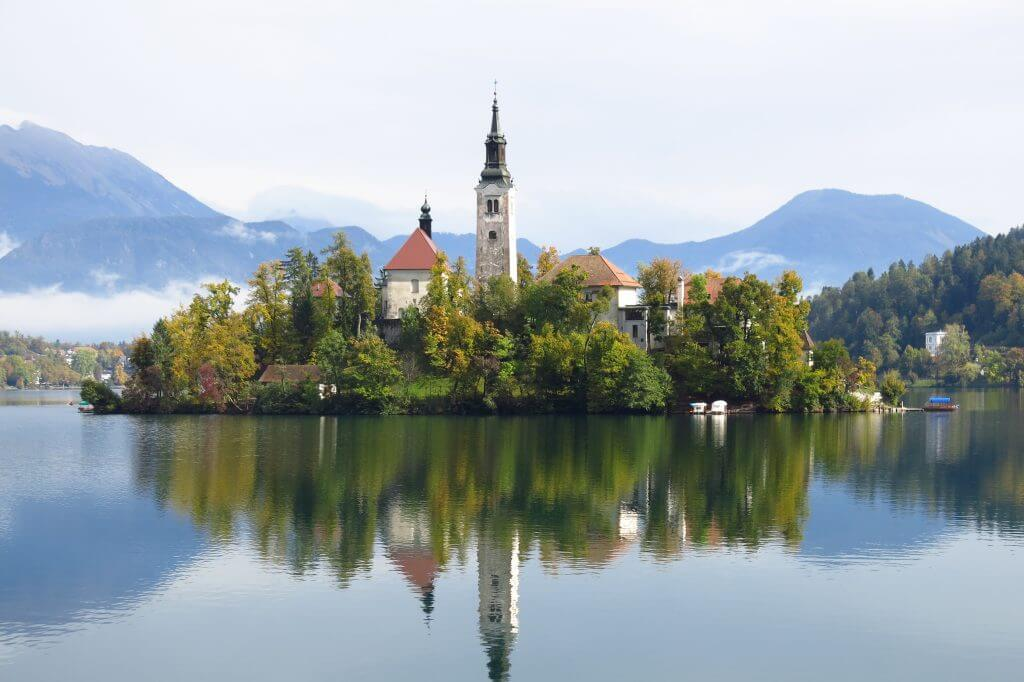 The famous Lake Bled in Slovenia
