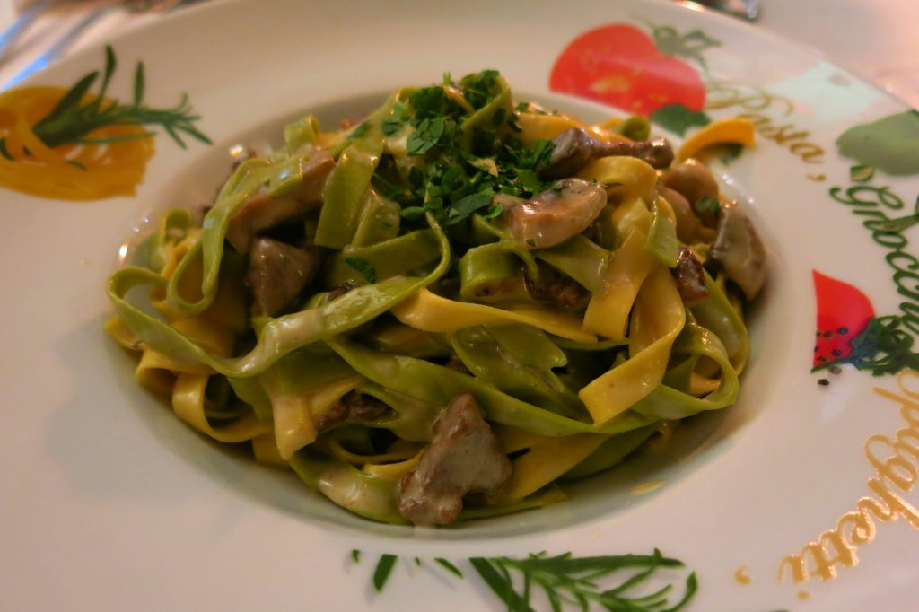 Tagliatella pasta with a white mushroom sauce and beef