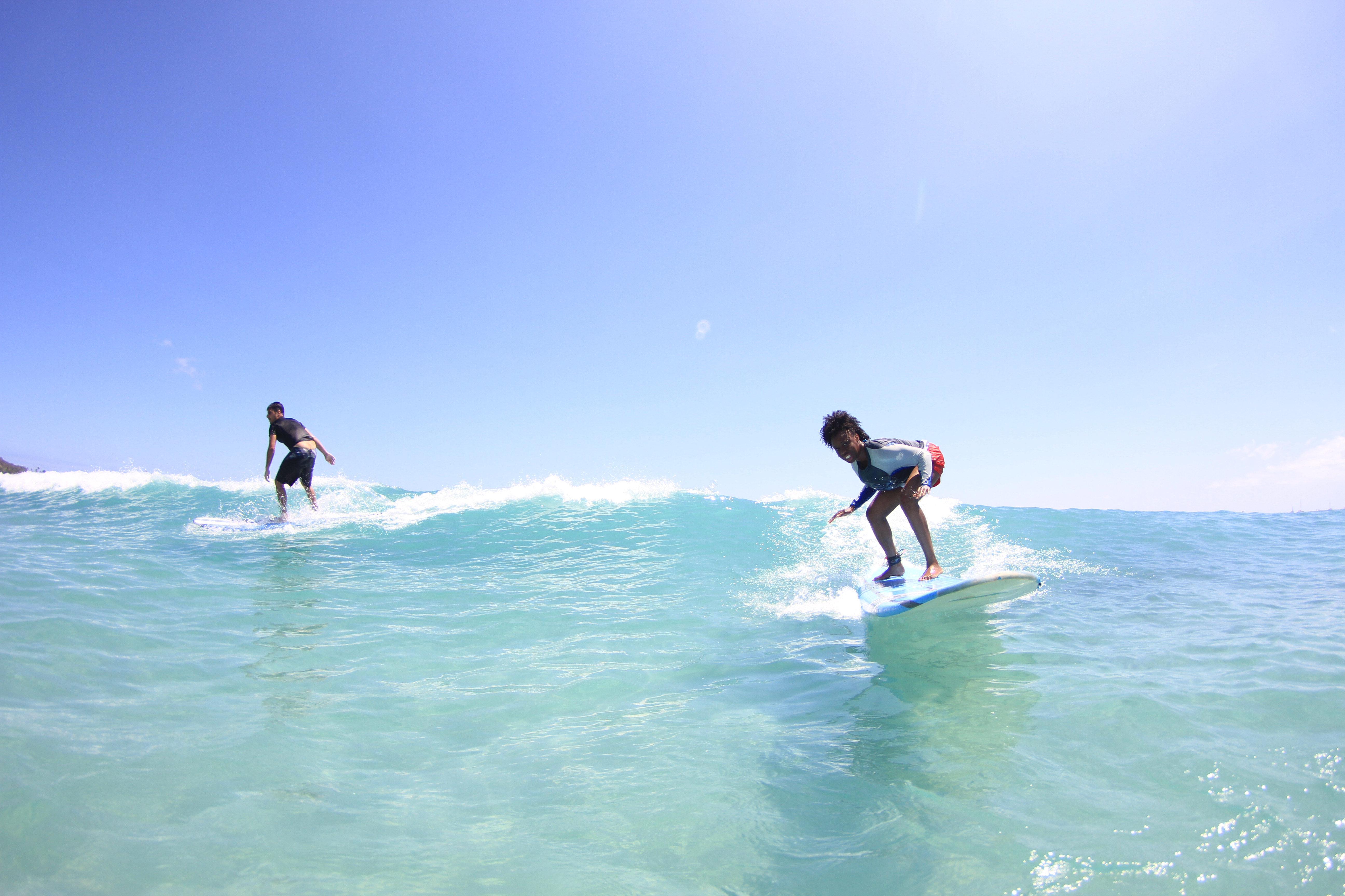 Surfing at Waikiki Beach in Honolulu Hawaii