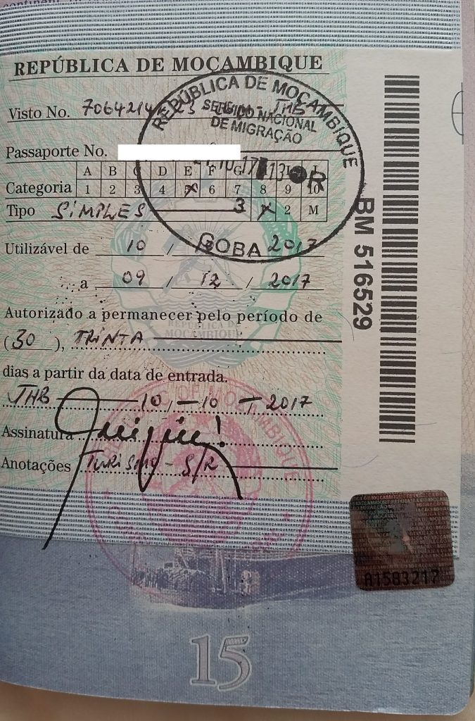 Mozambique Tourist visa issued by the consulate in Johannesburg