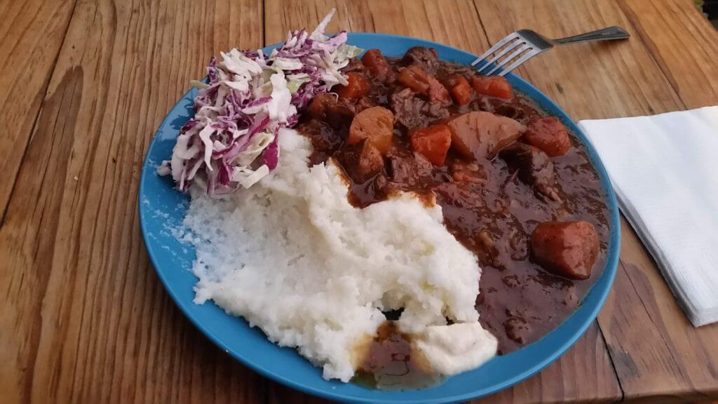 Pap with Potjiekos and Coleslaw