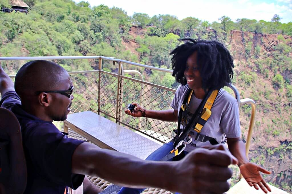 Preparing for Bungee jump on Victoria Falls Bridge