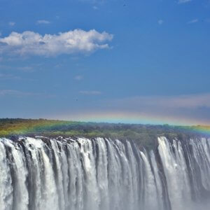Rainbow over the falls, Zimbabwe