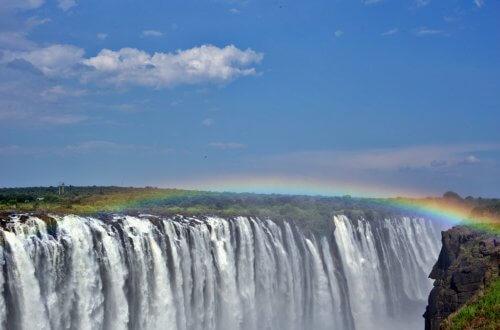Rainbow over the falls, Zimbabwe