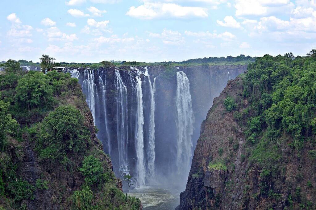 Viewpoint of the falls from Victoria Falls Bridge