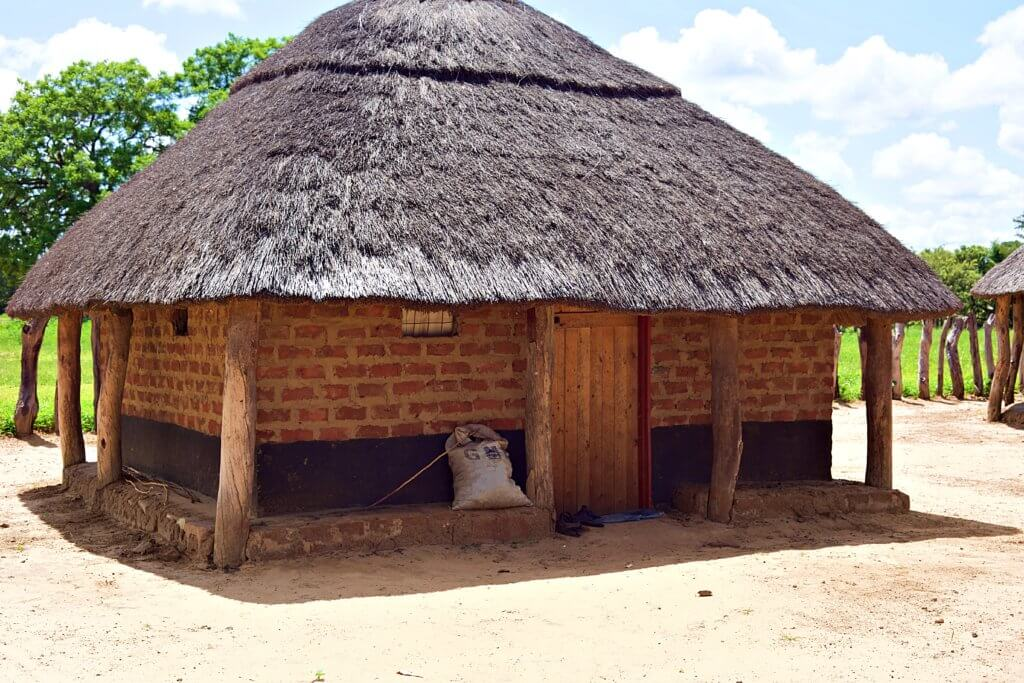 One of many huts in the village