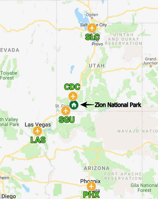 Airports near Zion National Park