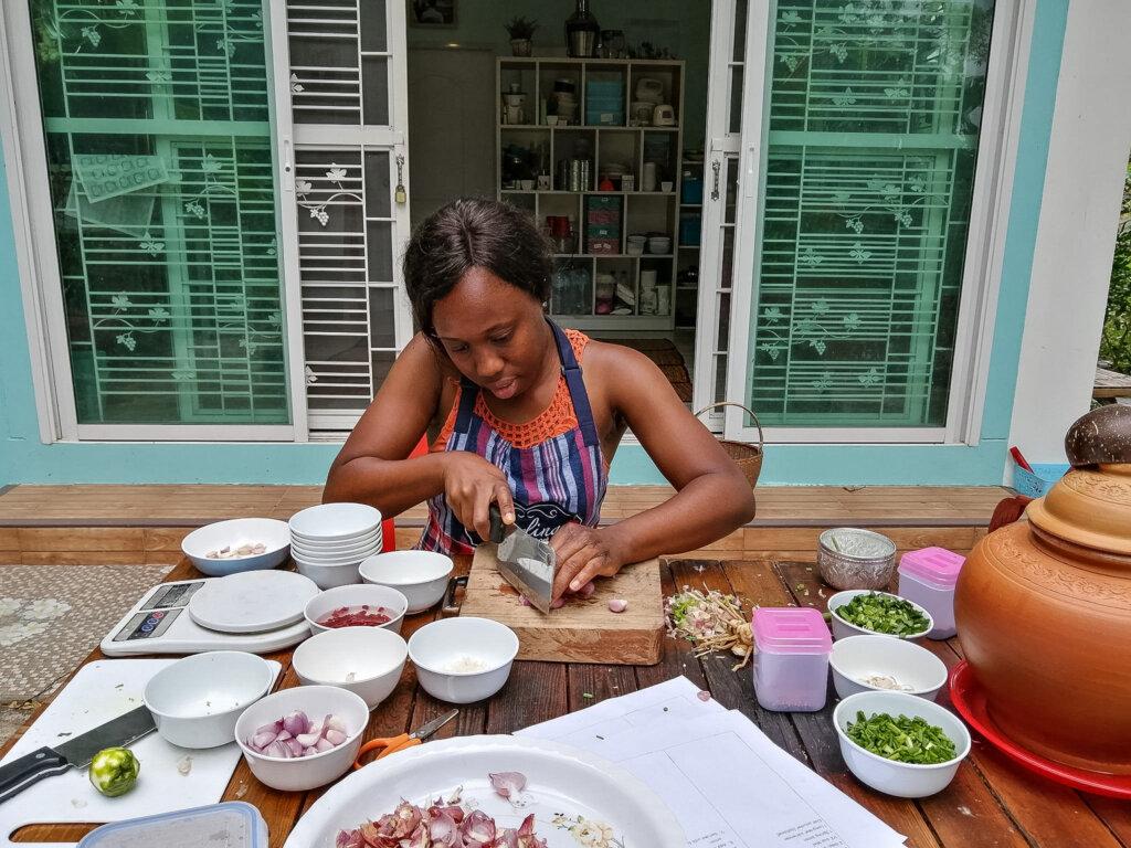 Mise en place (preparing ingredients before cooking)